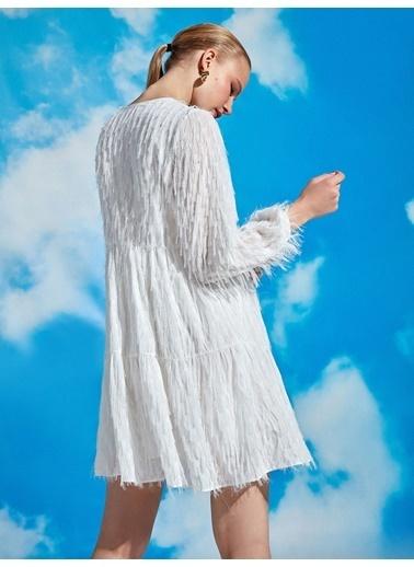 Nocturne Saçaklı Mini Elbise Ekru
